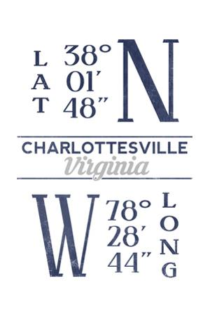 Charlottesville, Virginia - Latitude and Longitude (Blue) by Lantern Press