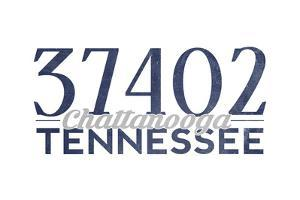 Chattanooga, Tennessee - 37402 Zip Code (Blue) by Lantern Press