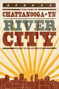Chattanooga, Tennessee - Skyline and Sunburst Screenprint Style by Lantern Press