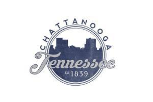 Chattanooga, Tennessee - Skyline Seal (Blue) by Lantern Press