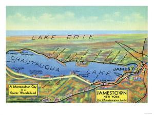 Chautauqua Lake, New York - Aerial Map of Lake and Surrounding Towns by Lantern Press