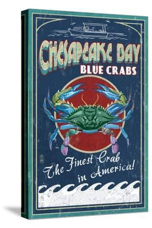 Chesapeake Bay, Virginia - Blue Crab Vintage Sign