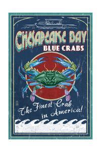 Chesapeake Bay, Virginia - Blue Crab Vintage Sign by Lantern Press