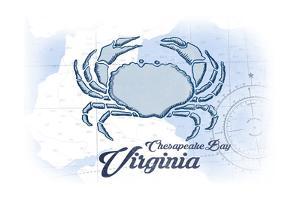 Chesapeake Bay, Virginia - Crab - Blue - Coastal Icon by Lantern Press