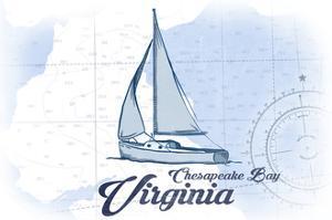 Chesapeake Bay, Virginia - Sailboat - Blue - Coastal Icon by Lantern Press