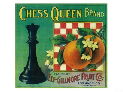 Chess Queen Orange Label - Los Angeles, CA by Lantern Press