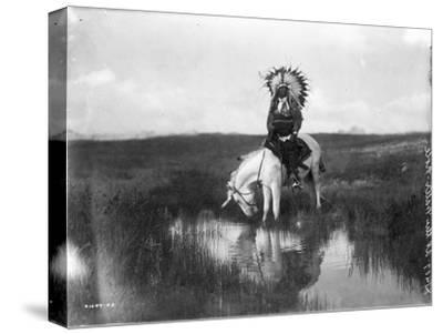 Cheyenne Indian, Wearing Headdress, on Horseback Photograph