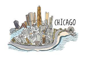 Chicago, Illinois - Cityscape - Line Drawing by Lantern Press