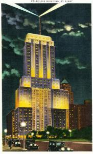 Chicago, Illinois, Exterior View of an Illuminated Palmolive Building at Night by Lantern Press