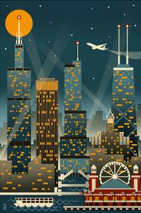 Chicago Illinois - Retro Skyline (no text) - Lantern Press Original Poster by Lantern Press