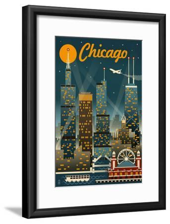 Chicago Illinois - Retro Skyline