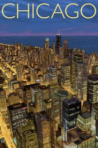 Chicago, Illinois, View of City from Sears Tower by Lantern Press