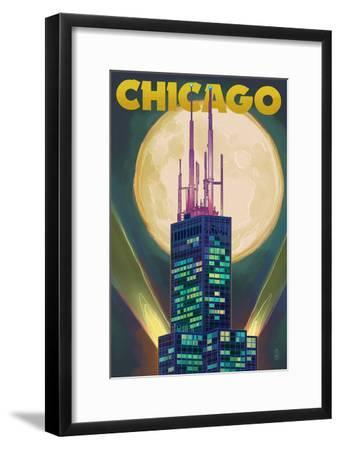Chicago, Illinois - Willis Tower and Full Moon
