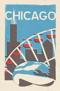 Chicago, Illinois - Woodblock by Lantern Press