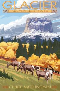 Chief Mountain and Big Horn Sheep - Glacier National Park, Montana by Lantern Press