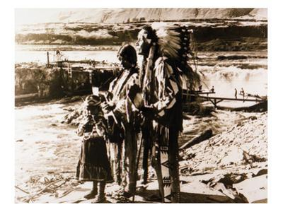 Chief Tommy Thompson, Wife Flora, Her Granddaughter Linda Marie George - Celilo Falls, Oregon Photo by Lantern Press