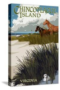 Chincoteague Island, Virginia - Horses and Dunes by Lantern Press