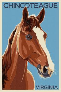 Chincoteague, Virginia - Horse by Lantern Press