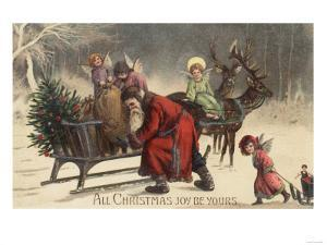 Christmas Greeting - Santa and Sleigh by Lantern Press
