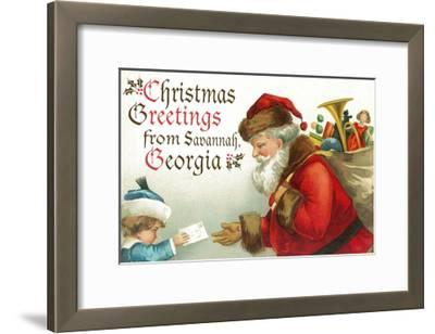Christmas Greetings from Savannah, Georgia - Santa Getting Letter