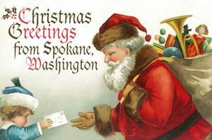 Christmas Greetings from Spokane, Washington - Santa Getting Letter by Lantern Press