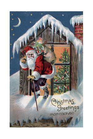 Chrsitmas Greetings from Colorado - Santa Climbing Out Window