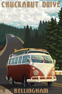 Chuckanut Drive - Bellingham, WA - VW Van by Lantern Press