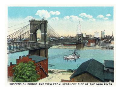 Cincinnati, Ohio - Ohio River, Suspension Bridge View from Kentucky
