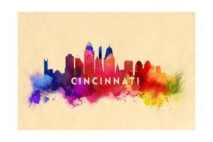 Cincinnati, Ohio - Skyline Abstract by Lantern Press
