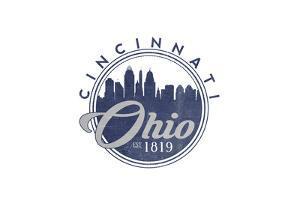 Cincinnati, Ohio - Skyline Seal (Blue) by Lantern Press