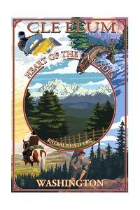 Cle Elum, Washington - Montage by Lantern Press