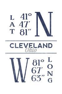 Cleveland, Ohio - Latitude and Longitude (Blue) by Lantern Press