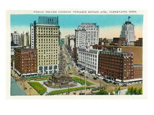 Cleveland, Ohio - Public Square, Euclid Avenue Aerial View by Lantern Press