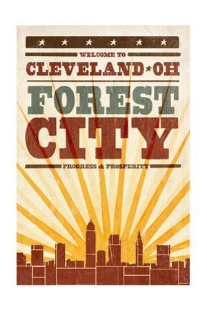 Cleveland, Ohio - Skyline and Sunburst Screenprint Style by Lantern Press