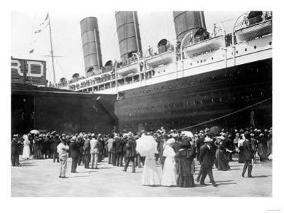 Closeup of Lusitania at the Dock NYC Photo - New York, NY by Lantern Press