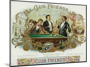 Club Friends Brand Cigar Box Label, Billards by Lantern Press
