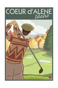 Coeur D'Alene, Idaho - Golfer by Lantern Press