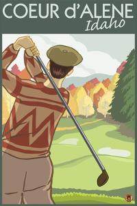 Coeur D'Alene, Idaho - Golfer by Lantern Press