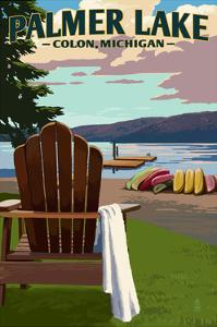 Colon, Michigan - Palmer Lake - Adirondack Chairs by Lantern Press