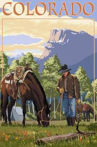 Colorado - Cowboy and Horse in Spring by Lantern Press