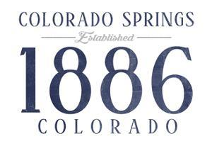 Colorado Springs, Colorado - Established Date (Blue) by Lantern Press