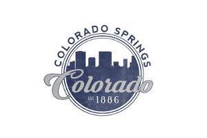 Colorado Springs, Colorado - Skyline Seal (Blue) by Lantern Press
