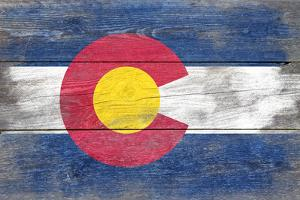 Colorado State Flag - Barnwood Painting (Image Only) by Lantern Press