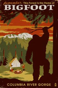 Columbia River Gorge - Home of Bigfoot by Lantern Press