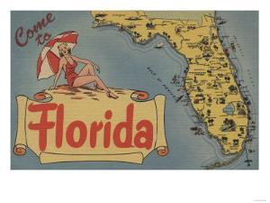 Come to Florida Map of the State, Pin-Up Girl - Florida by Lantern Press