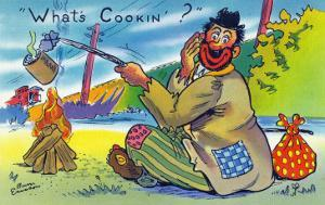 Comic Cartoon - Bum Cooking A Can; What's Cookin? by Lantern Press