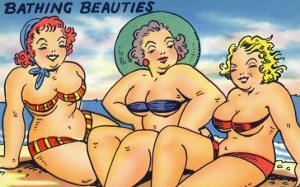 Comic Cartoon - Busty Bathing Beauties by Lantern Press