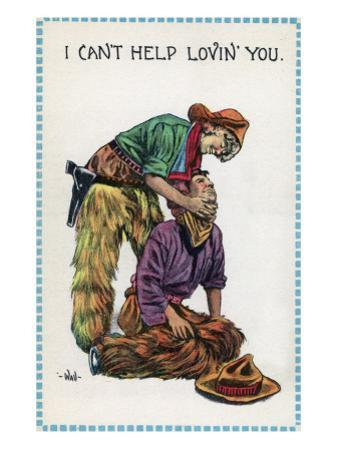 Comic Cartoon - Cowgirl Holds Cowboy by Neck; I Can't Help Lovin' You