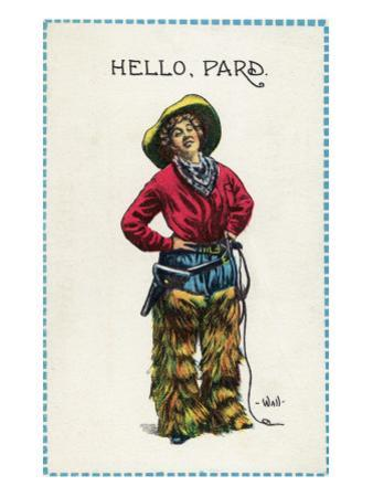 Comic Cartoon - Cowgirl Saying Hello, Pard