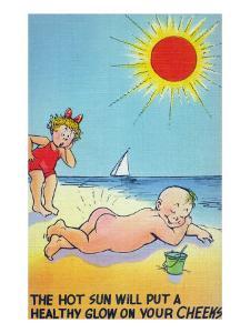 Comic Cartoon - Hot Sun Putting Healthy Glow on Cheeks by Lantern Press